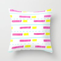 Pink and Lemon Stripes  Throw Pillow