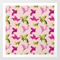 Pink Paper Cranes Art Print