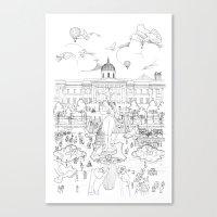 Pigeons Perspective Canvas Print