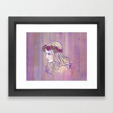 Violet Woodgrain Girl Framed Art Print