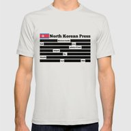 North Korea News Paper Mens Fitted Tee Silver SMALL
