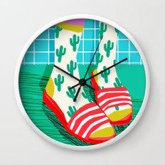 Sliders - memphis throwback retro neon 1980s 80s style pop art shoe fashion grid pattern socks Wall Clock