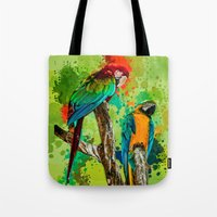 Paint Splashed Macaws Tote Bag