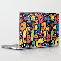 monster Laptop & iPad Skins featuring Monster Faces Pattern by Chris Piascik