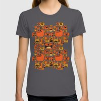 Pumpkin Pattern Womens Fitted Tee Asphalt SMALL