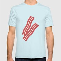 #8 Bacon Mens Fitted Tee Light Blue SMALL