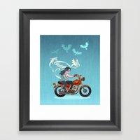 Motorcycle Couple Framed Art Print