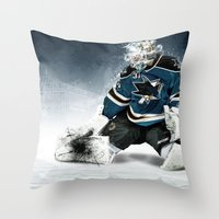 The Puck Stops Here Vers… Throw Pillow
