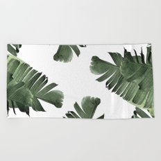 Banana Leaf Watercolor Pattern #society6 Beach Towel