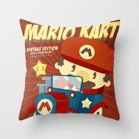 mario kart vintage Throw Pillow