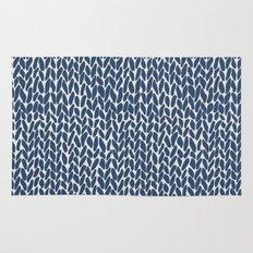 Hand Knit Navy Rug