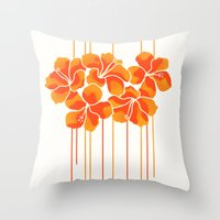 Hibiscus Stripe: Orange … Throw Pillow