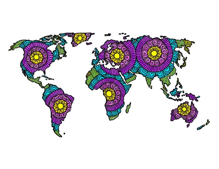 zentangle rainbow colored world map drawing