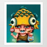 Uncle Gold Fish! Art Print
