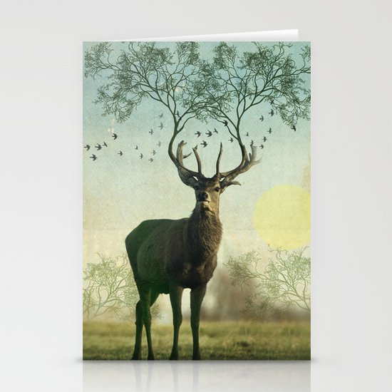 Evergreen Stage Horn Stationery Card