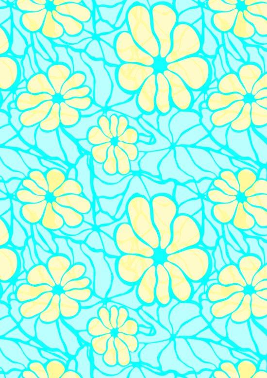 Summer Flowers in Blue Art Print