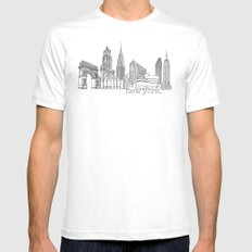 NYC Landmarks by the Downtown Doodler Mens Fitted Tee White SMALL