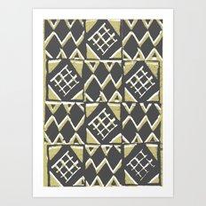 Grey and Beige Pattern Print Art Print