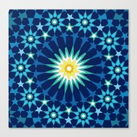 Sacred geometry Blue Canvas Print