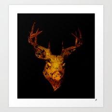 Cervus (Gold Negative Version) Art Print
