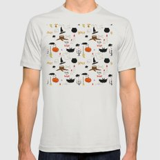Halloween Pattern Mens Fitted Tee Silver SMALL