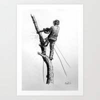 Arborist Tree Surgeon Using Stihl Chainsaw o20T  Art Print