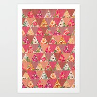 GEOMETRIC MODERN FLOWERS Art Print