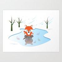 Little Fox On Ice Art Print