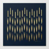 Navy Cattail Canvas Print