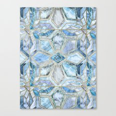 Geometric Gilded Stone Tiles in Soft Blues Canvas Print