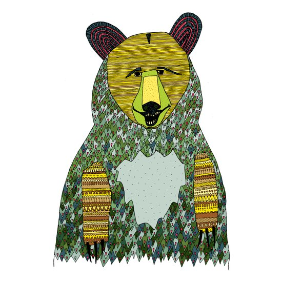 color bear square Art Print