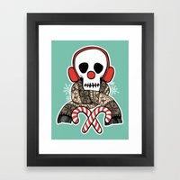 Stay Warm Holiday Skull Framed Art Print