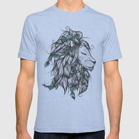 Poetic Lion Turquoise Mens Fitted Tee Tri-Blue SMALL