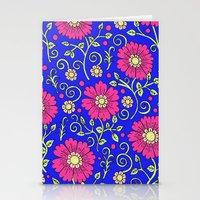 Cobalt Blue Floral Stationery Cards