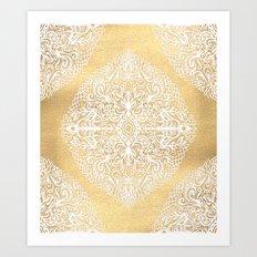 White Gouache Doodle on Gold Paint Art Print