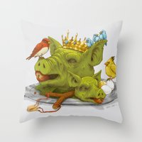 Furious Fowl Throw Pillow