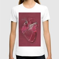 Digital Heart Womens Fitted Tee White SMALL