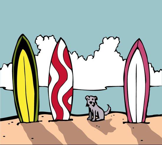 Surfer Dog Art Print