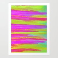 DISCO FEVER - Bright Neon Green Pink Funky Dance 70s Retro Stripes Abstract Watercolor Painting Art Print