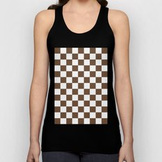 Checker (Coffee/White) Unisex Tank Top