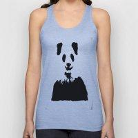 Pandas Blend into White Backgrounds Unisex Tank Top