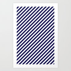 Classic Stripes in Navy + White Art Print