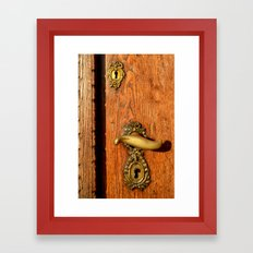 Old Oak Door With Brass Handle and Locks Framed Art Print