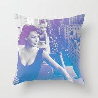 Natalie Wood Cityscape Throw Pillow