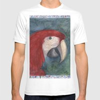 Red Macaw Mens Fitted Tee White SMALL