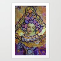 Lady Contemplating Art Print