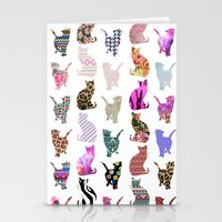 Girly Whimsical Cats aztec floral stripes pattern Stationery Cards