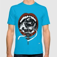 Poetry Slam  Mens Fitted Tee Teal SMALL