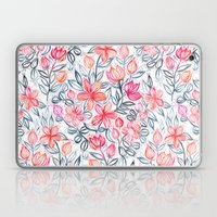 Coral and Grey Candy Striped Crayon Floral Laptop & iPad Skin