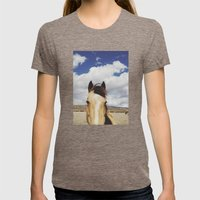 Cloudy Horse Head Womens Fitted Tee Tri-Coffee SMALL